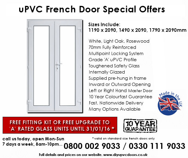 Standard size upvc french door offers for Standard french doors